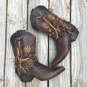 Dark brown embroidered UPCycled Cowgirl Boots